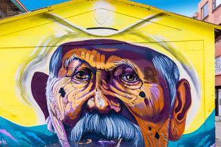 Bogota city mural representing a Colombian elder