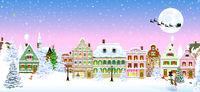 Houses snow snowflake winter night Christmas