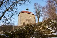 Staircase to romanesque castle chapel Breitenstein, Koenigstein, Oberpfalz, Bavaria