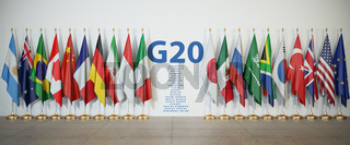 G20 summit or meeting concept. Row from flags of members of G20  Group of Twenty and list of countries,