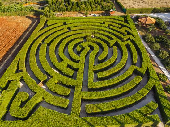 Maze of bushes in botanical park - Ayia Napa Cyprus