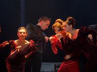 """Vitebsk-Belarus. November 18, 2019: The play """"Anna Karenina"""" based on Leo Tolstoy's novel to the music of Alfred Schnittke directed by Angelika Kholina. State Academic Theater of Vakhtangov. Editorial"""