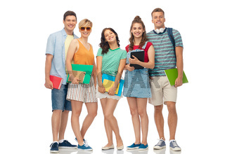 students with notebooks, books and folders