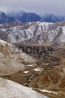 Indus valley and frozen road to Chang La, Ladakh, Jammu and Kashmir
