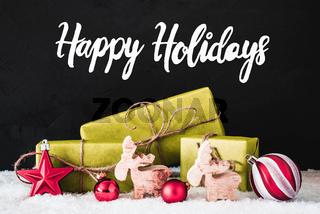 Christmas Decoration, Calligraphy Happy Holidays, Snow, Black Background