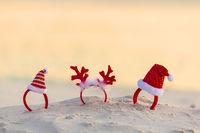Christmas Santa Hat headbands on beach