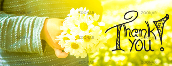 Child, Bouquet Of Daisy Flower, Calligraphy Thank You