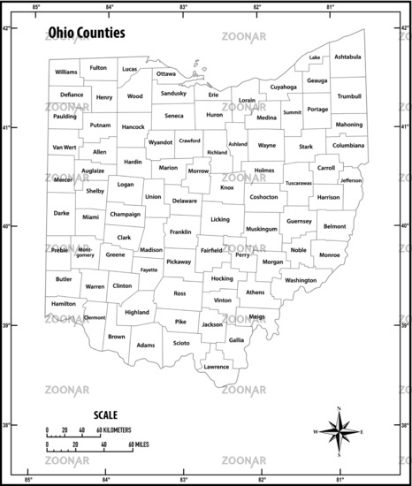 Ohio state outline administrative and political vector map in black and white