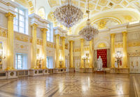 Moscow, Russia, 23 October 2019: Statue of Empress Catherine the Great in golden hall of Great Tsaritsyn Palace in museum reserve Tsaritsyno. Russian palace white and golden interior