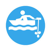 motor boat pictogram round
