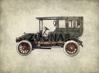 Vintage retro car hatching hand drawing. Green antique automobile over hatched background.