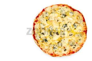 Pizza quattro formaggi on white background