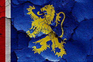 flag of Leeuwarden painted on cracked wall