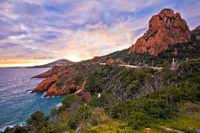 Le Trayas. Franch riviera scenic coastline sunset view