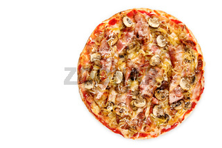 Pizza pancetta, top view on white
