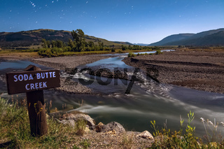 Yellowstone Park Wyoming soda butte creek  at night under full moon