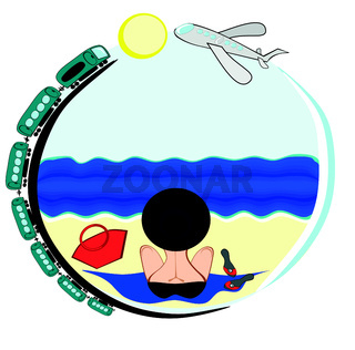 a picture on a round background on which a woman in a bathing suit and hat sits with her back to the viewer and looks at the sea, along the contour of the picture a train rides and a plane flies