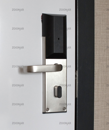Hotel door with automatic lock for visitor card