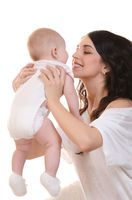 The happy mother with baby on white background