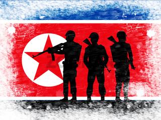 North Korean Military And Flag 3d Illustration