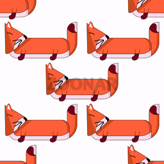 Vector seamless pattern with cute cartoon foxes3