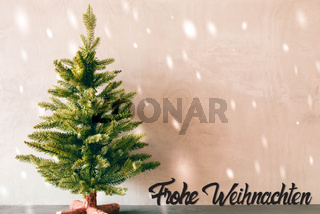 Green Tree, Calligraphy Frohe Weihnachten Means Merry Christmas, Snowflakes