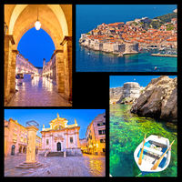 Dubrovnik postcard collage landmarks view