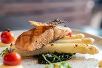 Grilled Salmon White Asparagus