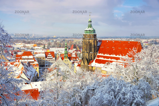 Pirna im Winter - the town Pirna in Winter with snow, Saxony in Germany