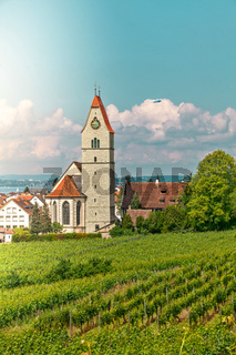 Panoramic view of lake of Lake Constance. Zeppelin, apple trees and Catholic Church St. Johann Baptist in Hagnau on the picture.
