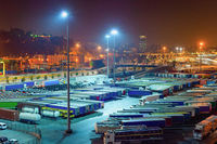 Trucks, containers, port, night, Barcelona