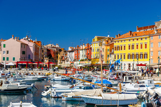 Harbour and marina in old town of Rovinj