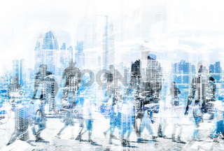 people in the city concept - abstract city skyline and people walking on street double exposure -