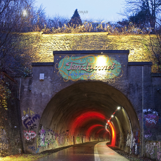 tunnel Dorrenberg, Tanztunnel, former rail track, now cycle path in the evening, Wuppertal, Germany
