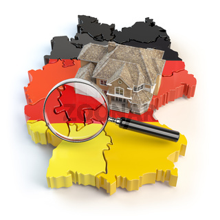 House and loupe on the map of Germany in colors of german flag. Search a house for buying or rent concept. Real estate development in Germany.