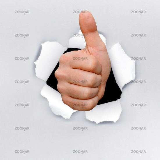 Gesture series, hand breack out, success,successfully,  thumb up