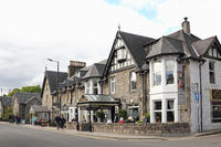 Victorian style houses and outside restaurant in Scotland