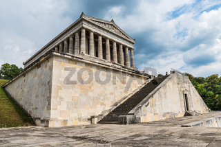 Donaustauf, Bavaria, Germany - 27 July, 2018: People on the tour in Hall of fame - Walhalla memorial. Dutch angle image technique