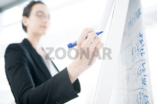 Businesswoman Giving Presentation at Whiteboard