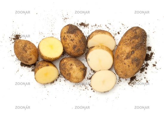Fresh Organic Potatoes Isolated On White Background