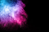 Abstract multi color powder explosion on black background.  Freeze motion of colorful dust  particle