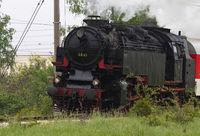 Historic steam locomotive with passenger wagons