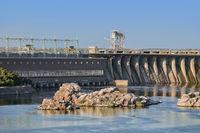 Island in the Dnieper near Zaporozhye hydroelectric plant