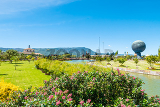 Bogota Jaime Duque park flowers and gardens with sun