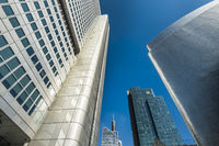downtown frankfurt, silver tower, gallileo tower (commerzbank ), maintower