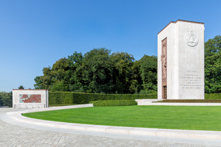 American WW2 Cemetery with memorial monument and map in Luxembourg