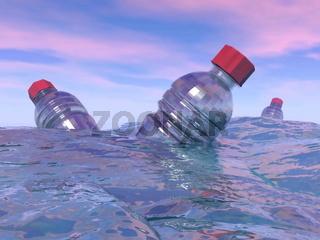 Pollution of plastic bottles in the ocean - 3D render