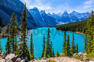 Lake Moraine with emerald water