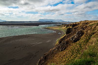 Mountains and black beach near Hvitserkur in Iceland