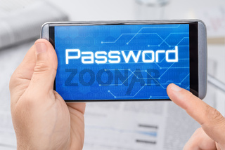 Smartphone with the text Password on the display